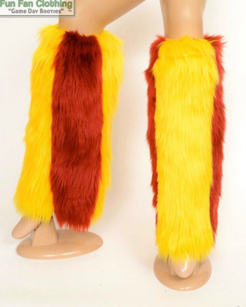 Game Day Booties - Maroon & Yellow Faux Fur