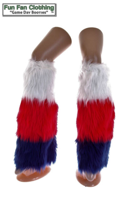 Game Day Booties - Navy, Red & White Faux Fur Tricolor Waterfall Design