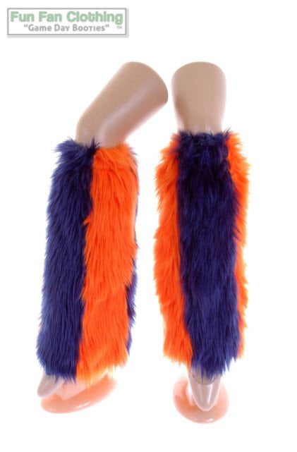 Game Day Booties - Navy and Orange Faux Fur
