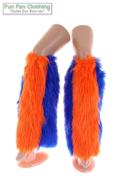 Game Day Booties - Orange and Royal Blue Faux Fur