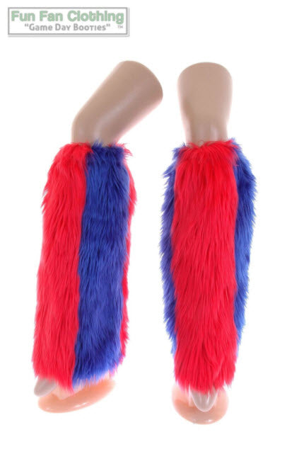 Game Day Booties - Red & Royal Blue Faux Fur