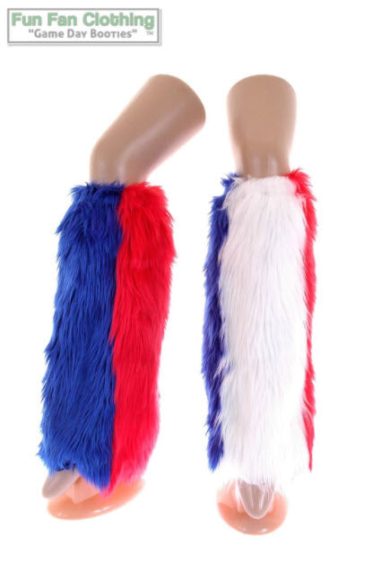 Game Day Booties - Red, Royal Blue & White Faux Fur Tricolor