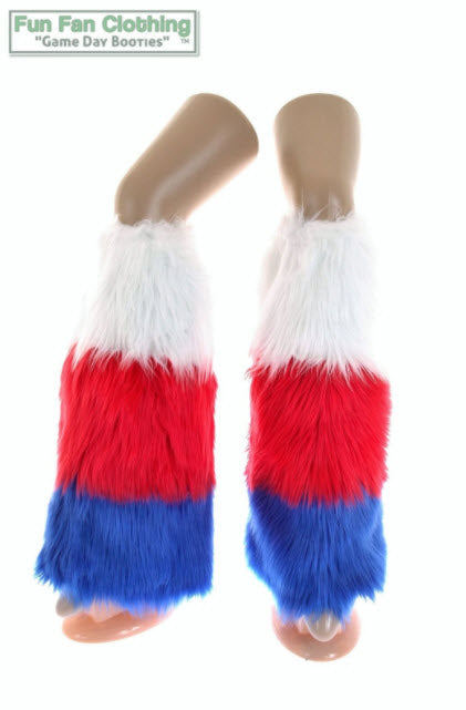 Game Day Booties - Red, Royal Blue & White Faux Fur Tricolor Waterfall Design