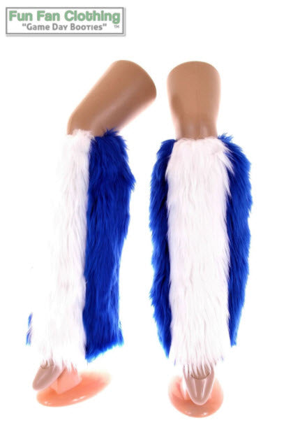Game Day Booties - Royal Blue and White Faux Fur