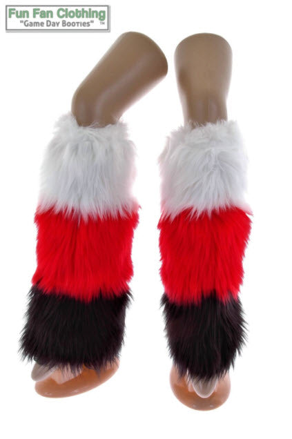 Game Day Booties - White, Black and Red Faux Fur Tricolor Waterfall Design