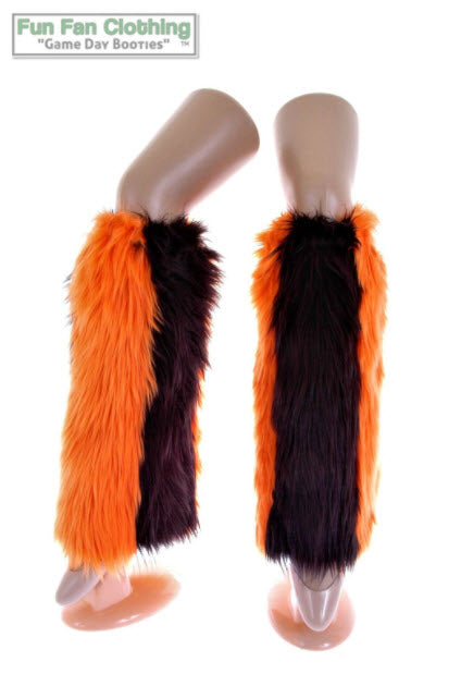 Game Day Booties - Black and Orange Faux Fur