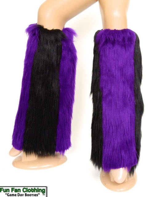 Game Day Booties - Black and Purple Faux Fur