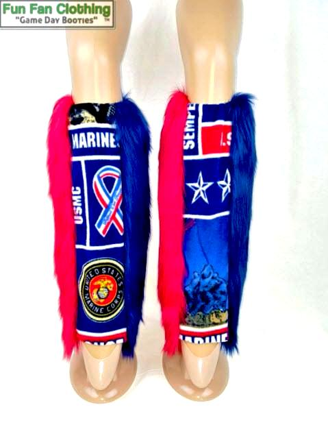 Military Booties: US MARINES - Red & Blue Faux Fur with Marines Fleece