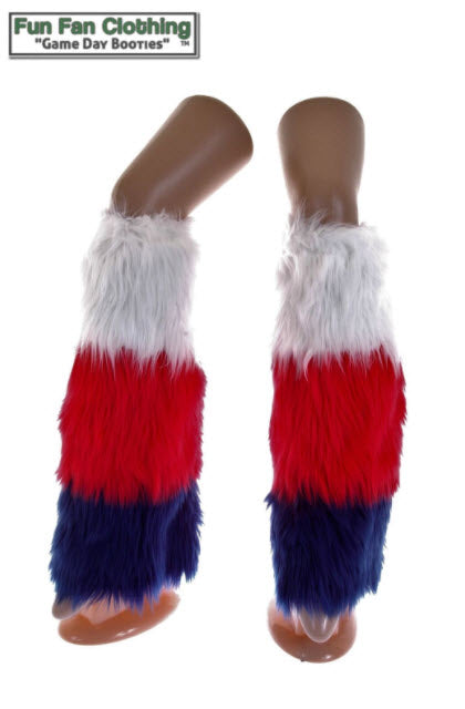 Military Booties: Red, White & Blue Faux Fur Tricolor Waterfall Design