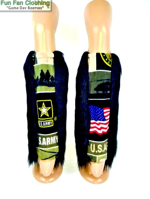 Military Booties: US ARMY - Black Fur with US Army Fleece