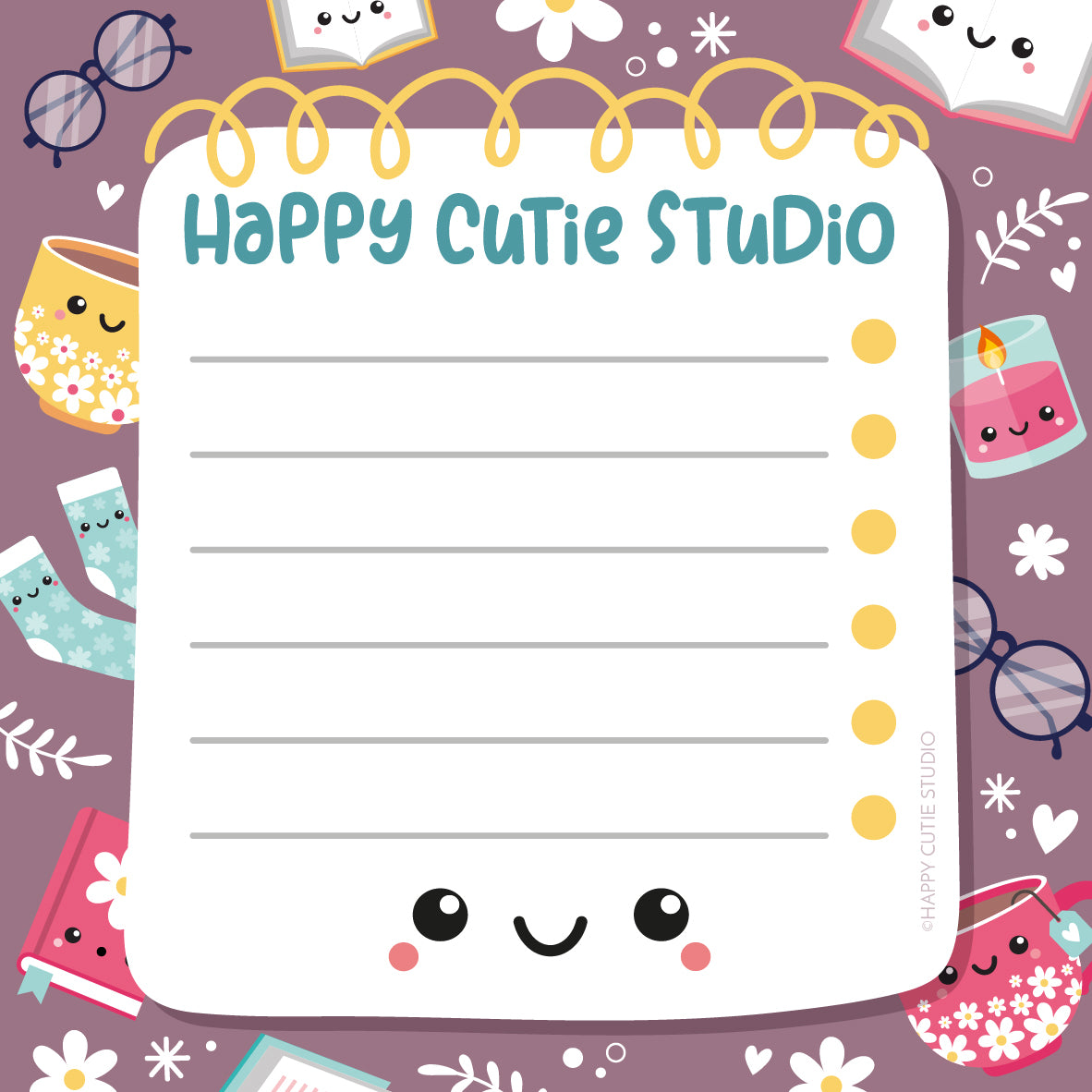 A cute doodle of a lined notepad with kawaii icons of teacups, books, and glasses dotted around the edge