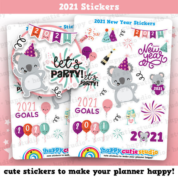 Cute 2021 New Year/Party/Celebration Planner Stickers