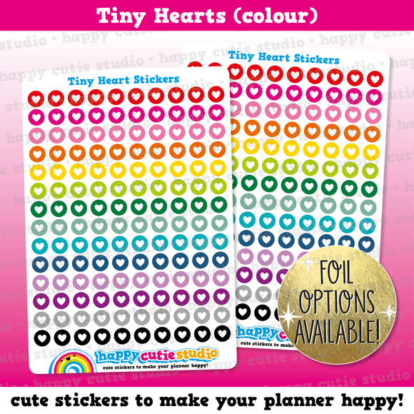 140 Cute Colourful Tiny Hearts/Functional/Practical Planner Stickers