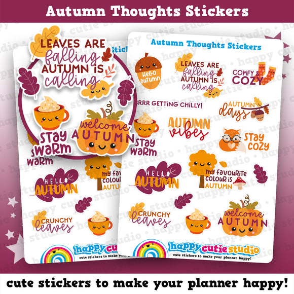 15 Cute Autumn/Fall/Cute Thoughts Planner Stickers