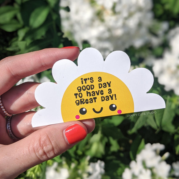 Happy Flower with Inspirational Quote Large Sticker/Kawaii/Cute
