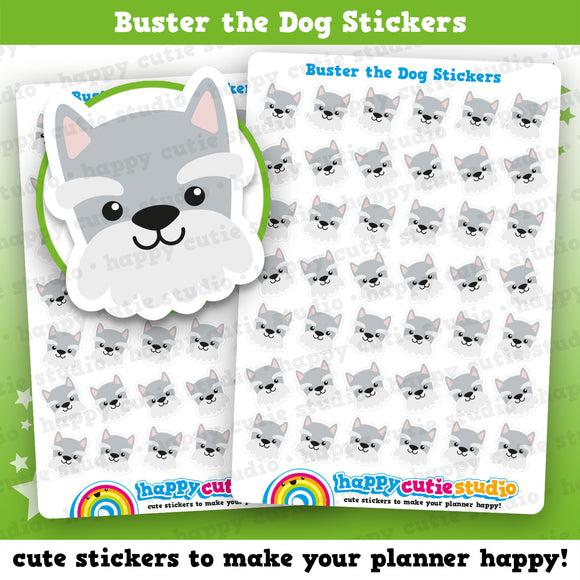 42 Cute Buster the Dog/Schnauzer Planner Stickers