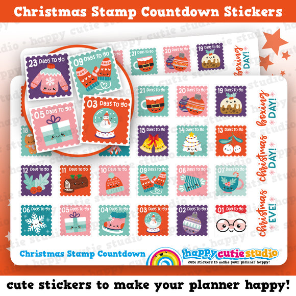Christmas Stamp Countdown/Festive/Holidays Planner Stickers