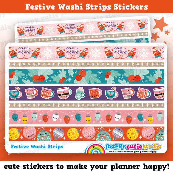 Christmas Washi Strips/Festive/Holidays Planner Stickers