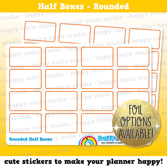 16 Cute Rounded Half Box/Functional/Practical Planner Stickers