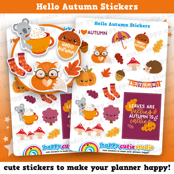 Hello Autumn/Fall Planner Stickers