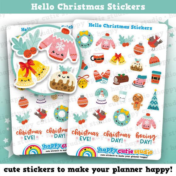 27 Cute Hello Christmas Planner Stickers