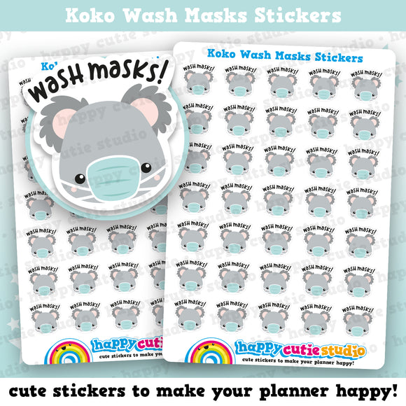 35 Cute Koko the Koala 'Wash Masks' Planner Stickers