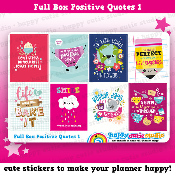 8 Full Box Positive Quotes 1/Functional/Practical Planner Stickers