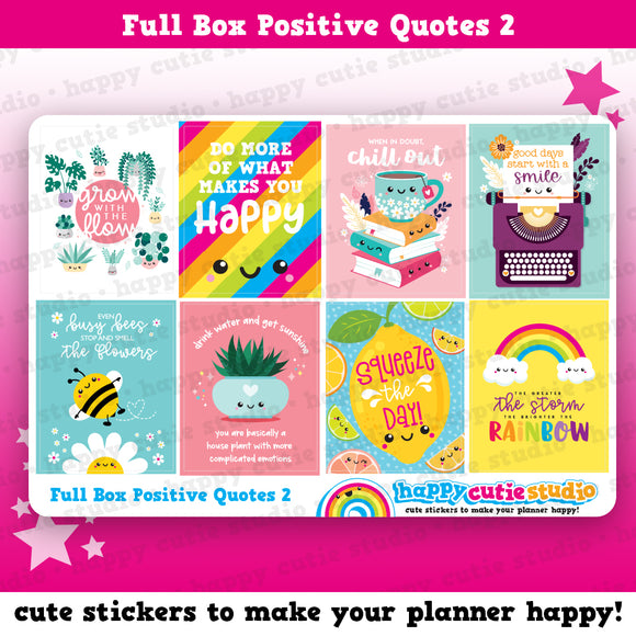 8 Full Box Positive Quotes 2/Functional/Practical Planner Stickers