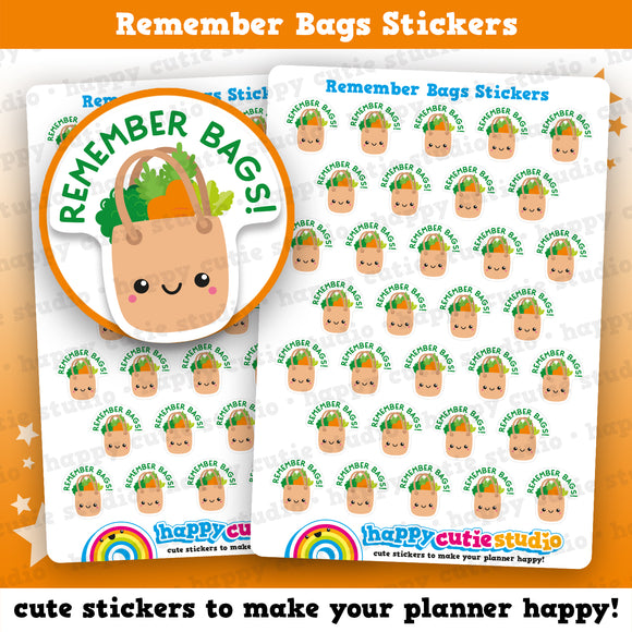 32 Cute 'Remember Bags' Planner Stickers