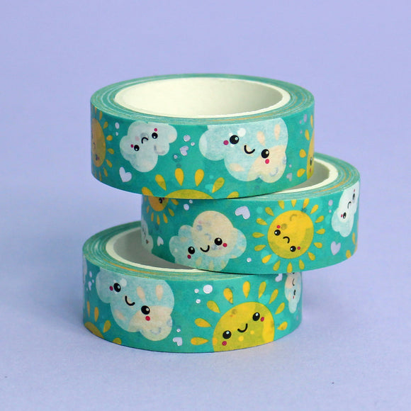 Silver Foil Sun and Clouds Washi Tape
