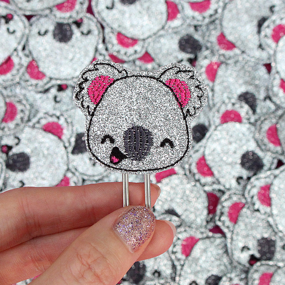 Happy Cutie Studio Koko the Koala Silver/Glitter Planner Clip/Kawaii/Cute