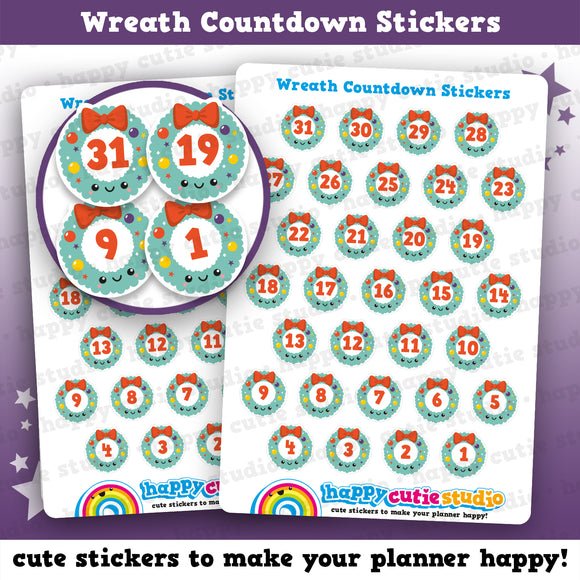 31 Cute Christmas Wreath Countdown/Date Cover Planner Stickers
