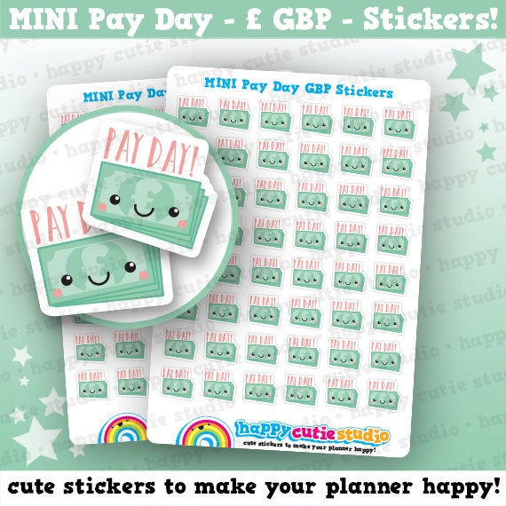 48 Cute MINI Pay Day/Payday GBP Planner Stickers