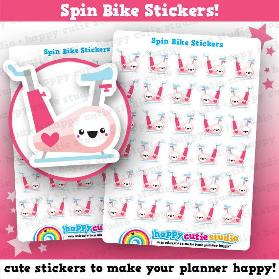 30 Cute Spin Bike/Spinning/Cycling/Gym/Exercise/Work Out Planner Stickers
