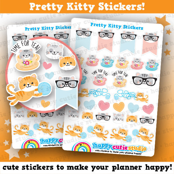 32 Cute Pretty Kitty/Cat Planner Stickers