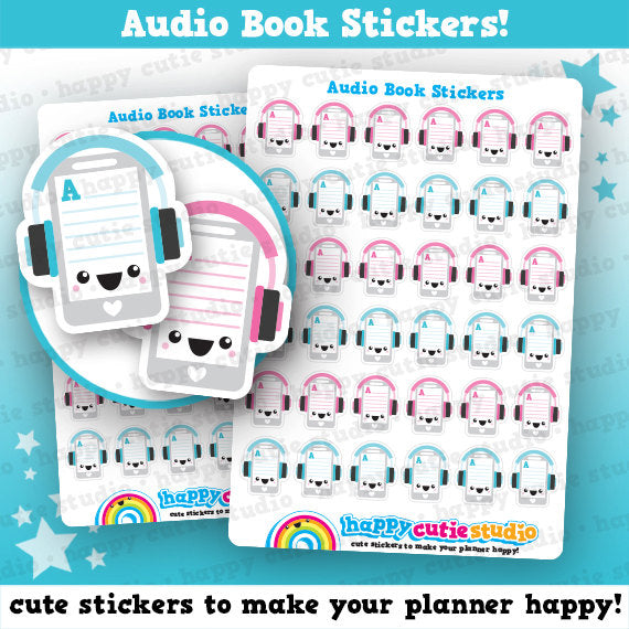 36 Cute Audio Book/Audiobook/Reading Planner Stickers
