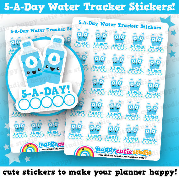 25 Cute Hyrdration Tracker - 5 A Day - Planner Stickers