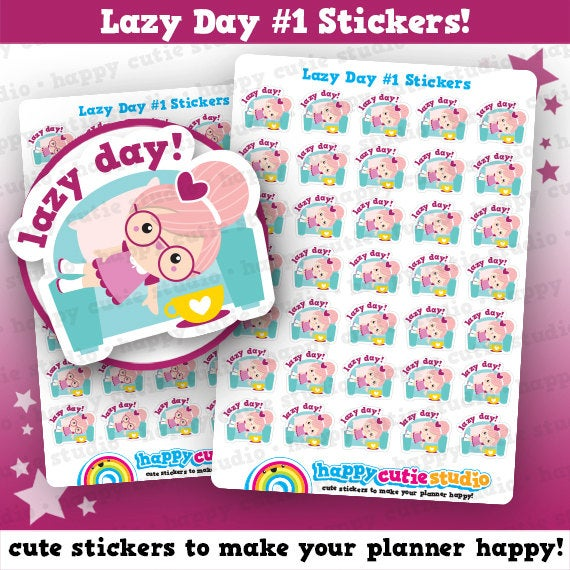 35 Cute Lazy Day Girl Planner Stickers