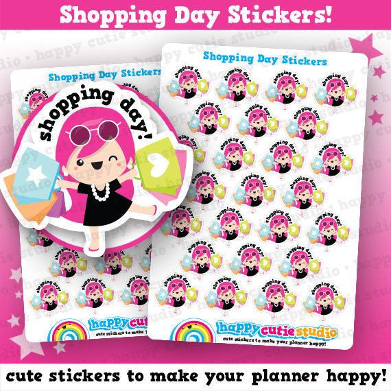 25 Cute Shopping Day Girl Planner Stickers
