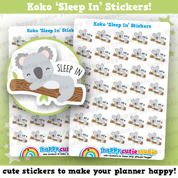 35 Cute Koko the Koala 'Sleep In' Planner Stickers