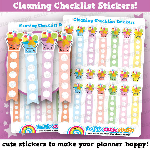 14 Cute Cleaning/Chores/Housework Checklist Planner Stickers
