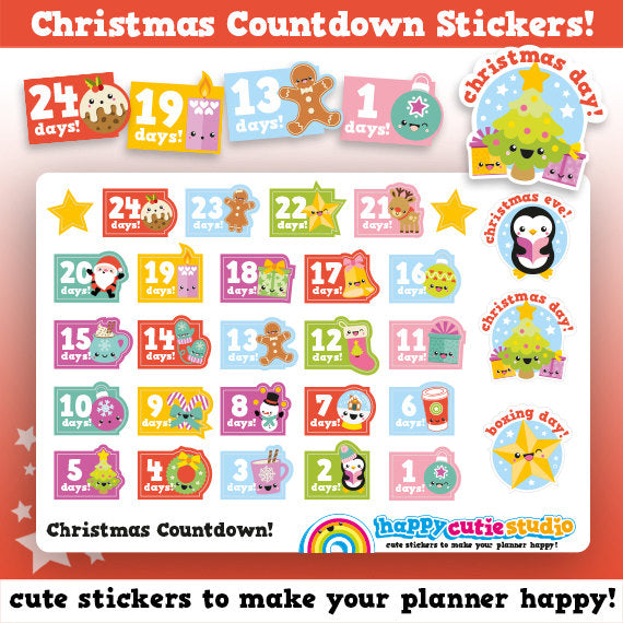 Cute Christmas Countdown/Festive/Holidays Planner Stickers