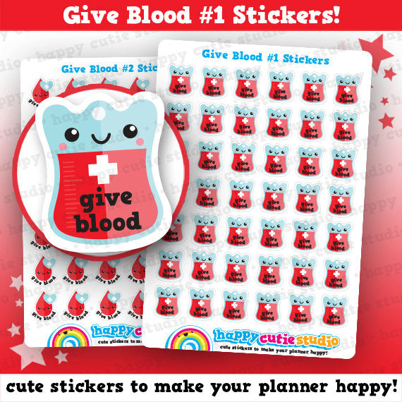 42 Cute Give Blood #1 /Donate/Blood Donor/Reminder Planner Stickers