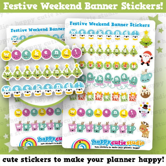 7 Cute Christmas Banners/Weekend/Holidays/Festive Planner Stickers