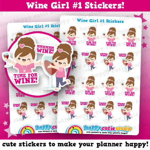 16 Cute Wine Girl #1/Time for Wine/Alcohol Planner Stickers