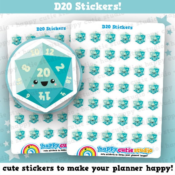 42 Cute D20/Gamer/Gaming Planner Stickers