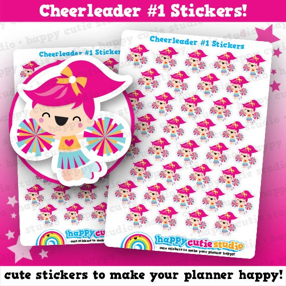 36 Cute Cheerleader Planner Stickers