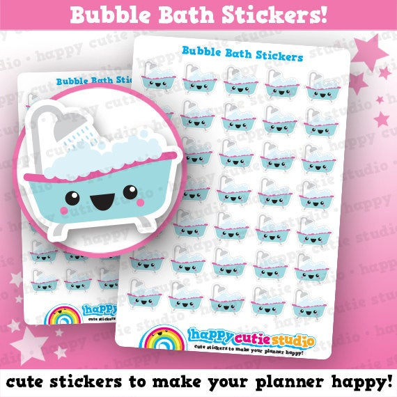 35 Cute Bubble Bath/Relax/Me Time Planner Stickers
