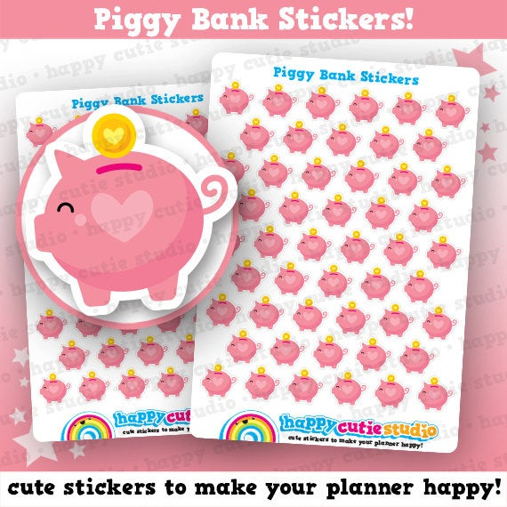 50 Cute Piggy Bank/Save/Money Planner Stickers