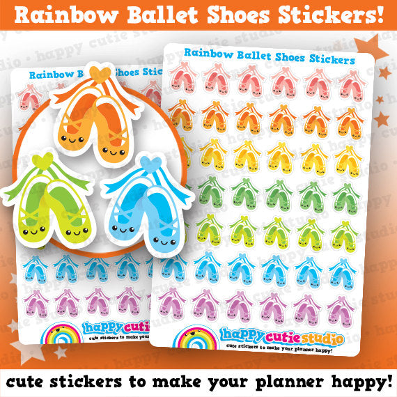 42 Cute Rainbow Ballet Shoes/Lesson Planner Stickers